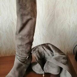 Сапоги - Демисизонные сапоги, 36 размер, натуральная замша, высота каблука 7 см , 0