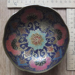 Сувениры - медная чаша,роспись эмалями,ручная работа,Индия, 0