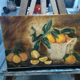 """Картины, постеры, гобелены, панно - Картина""""корзина с мандаринами"""", написана ватными палочками, 0"""