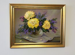 Картины, постеры, гобелены, панно - Картина «Желтые пионы» вышивка лентами, 0