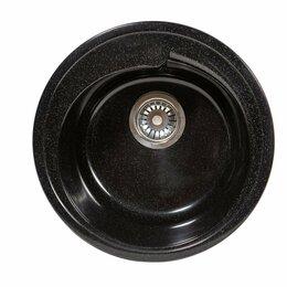 Кухонные мойки - Кухонные мойка круглая черная rs4, 0