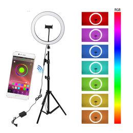 Фотовспышки - Кольцевая лампа со штативом 33 см, разноцветная J158, 0