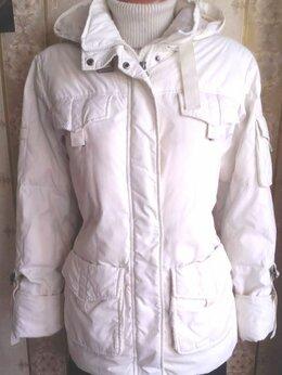 Куртки - Белая пуховая куртка, р.46, шапка и шарф в подарок, 0