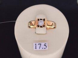 Кольца и перстни - Золотое кольцо с Фианитом и Эмалью, размер 17,5, 0