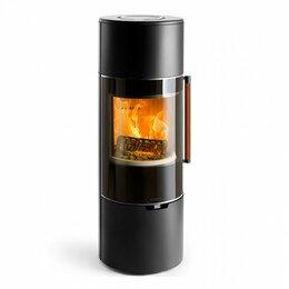 Камины и печи - Печь K900, высокая, черная, кожаная ручка + хромированная окантовка стекла (Kedd, 0