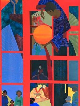 """Картины, постеры, гобелены, панно - Картина темперой на холсте """"Восходящее солнце"""", 0"""