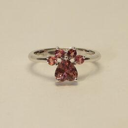 Кольца и перстни - Нежное кольцо с розовыми турмалинами из белого…, 0