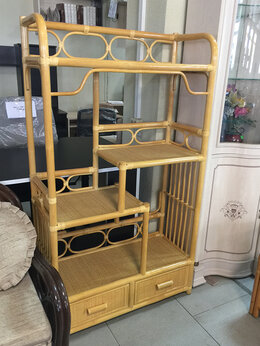 Плетеная мебель - Этажерка натуральный ротанг, 0