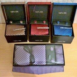Галстуки и бабочки - Галстук 100% ШЁЛК, запонки, зажим для галстука, все в комплекте. НОВЫЕ., 0
