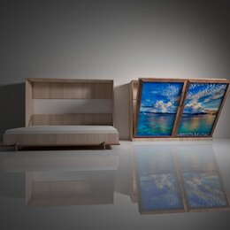 Кровати - Подъемная двуспальная кровать в шкафу 160х200. Взрослая с фотопечатью Ф-5, 0
