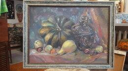 Картины, постеры, гобелены, панно - Картина маслом натюрморт с тыквой и кувшином , 0