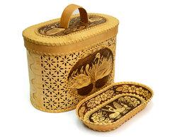 """Подарочные наборы - Набор из бересты """"Лебеди"""" хлебница + тарелка, 0"""