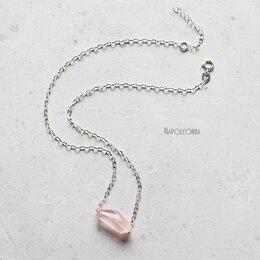 Кулоны и подвески - Подвеска с розовым кварцем на серебряной цепочке…, 0