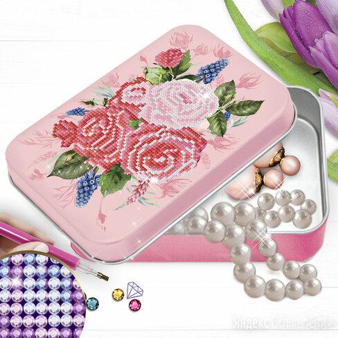 """Алмазная вышивка на шкатулке """"Букет роз"""" 22,8*15,8 см по цене 550₽ - Рукоделие, поделки и сопутствующие товары, фото 0"""