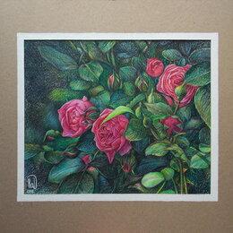 Картины, постеры, гобелены, панно - Розовые розы.Цветы,букет,роза,малиновый,лето,картина, 0