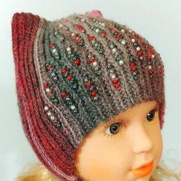 Рукоделие, поделки и сопутствующие товары - Вязаная детская шапка с ушками на завязках и бусинами кото-шапка ( на заказ), 0