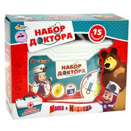 Детские наборы инструментов - Набор доктор Играем вместе Маша и медведь, 15 предметов в чемодане, 0