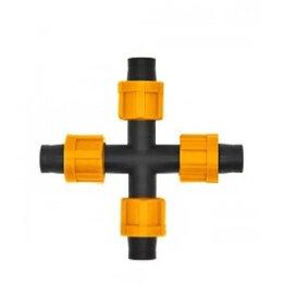 Капельный полив - Крестовое соединение для капельной ленты на 4 выхода Dn17 (AD5130), 0