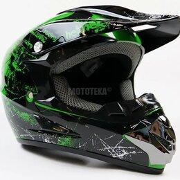 Спортивная защита - Шлем Motax (Мотакс) детский кроссовый глянцево-черный-зеленый (G4), 0