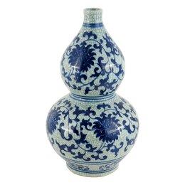 Вазы - Ваза керамическая фигурная бело-голубая 38 см…, 0