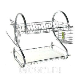 Прочие хозяйственные товары - Двухъярусная сушилка для посуды 38 x 38 x 24 см, 0