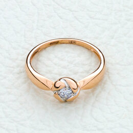 Кольца и перстни - Кольцо с фианитом из красного золота, 0