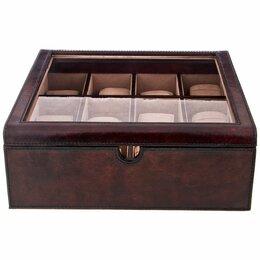 Шкатулки для часов - Шкатулка для часов коричневая кожаная 30,5х30,5 см, 0