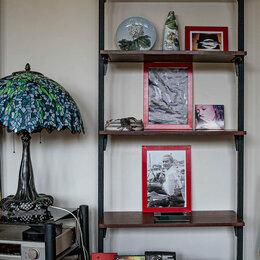 Стеллажи и этажерки - Стеллаж в стиле ЛОФТ металлический отдельно стоящий, с деревянными полками, 0