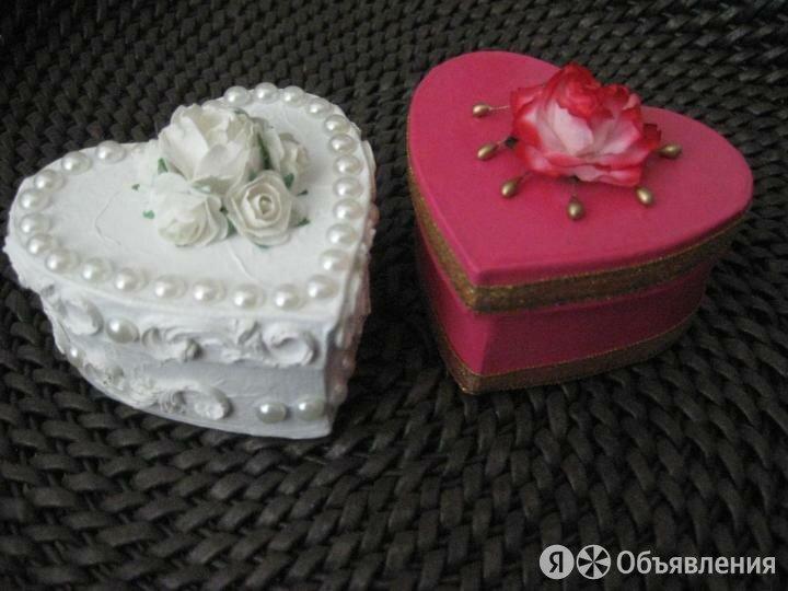 Маленькие коробочки сердечки для колец по цене 180₽ - Подарочная упаковка, фото 0