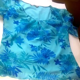 Блузки и кофточки - Блузка голубая из шифона 44 размер, 0