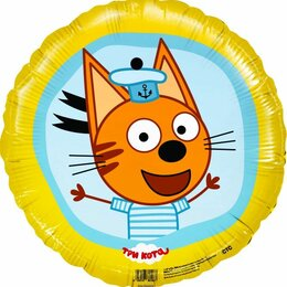 """Воздушные шары - Шар (18""""""""/46 см) Круг, Три Кота, Коржик, Желтый,…, 0"""