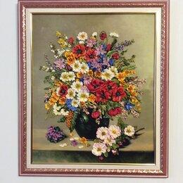 Картины, постеры, гобелены, панно - Картина «Полевые цветы» вышита лентами , 0