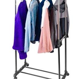 Вешалки напольные - Вешалка стойка напольная для одежды на колесиках с 2 двумя перекладинами, 0