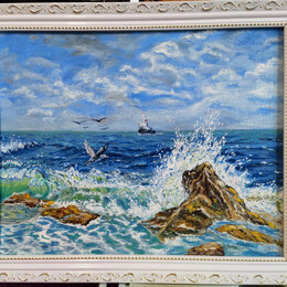 Картины, постеры, гобелены, панно - Авторская картина маслом. Морской пейзаж. Холст на ДВП 40х50, 0