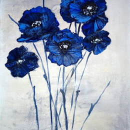 """Картины, постеры, гобелены, панно - Интерьерная картина """"Синие маки"""", 0"""