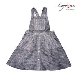 Платья - Серебристо-серый сарафан на кнопках с накладными…, 0