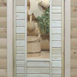 Двери - Банная дверь липа остекленная «Веник», 0