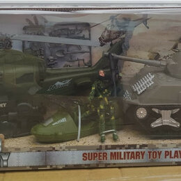 Игровые наборы и фигурки - Военный набор с танком и вертолетом, 0