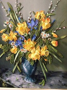 Картины, постеры, гобелены, панно - Картина Весенний букет , вышивка лентами, 0