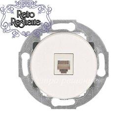 Электроустановочные изделия - Розетка телефонная RJ-12 с накладкой белый, 0