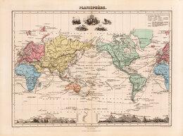Гравюры, литографии, карты - Подлинная старинная гравированная карта Мира,…, 0