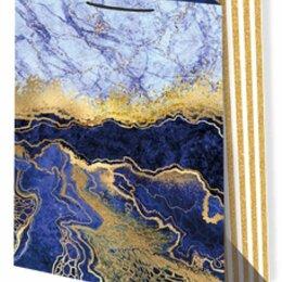 Подарочная упаковка - Пакет подарочный Мрамор синий 33х45 см, 0