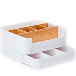 Органайзеры и кофры - Настольный бамбуковый органайзер ZEN's Bamboo Multi-Fanction Storage Box Whit..., 0