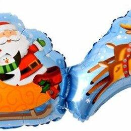 Новогодние фигурки и сувениры - Шар Дед Мороз на санях с оленями, 0