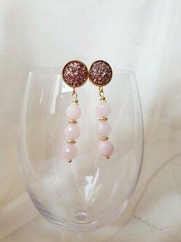 Серьги - Серьги с розовым кварцем, 0