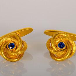 Запонки и зажимы - Золотые запонки с сапфиром. Царизм. 56 проба, 0