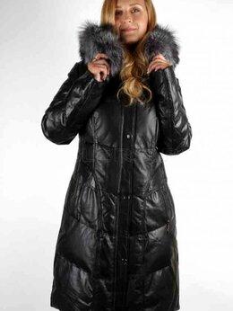 Пуховики - Зимний женский пуховик из натуральной кожи, 0