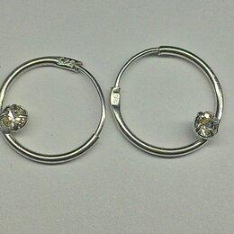 Серьги - Серьги серебро СССР 925 проба, серьги-кольца 1,5 см с фианитом, 0