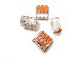 Товары для электромонтажа - Коннектор для проводов (клеммник), прозрачный, 4p, 0