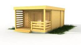 Готовые строения - Дачный домик из мини-бруса 4х6 с верандой, 0